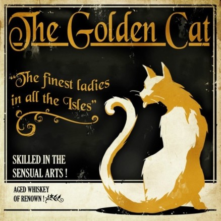 "Flier for ""The Golden Cat"" establishment in Dishonored"