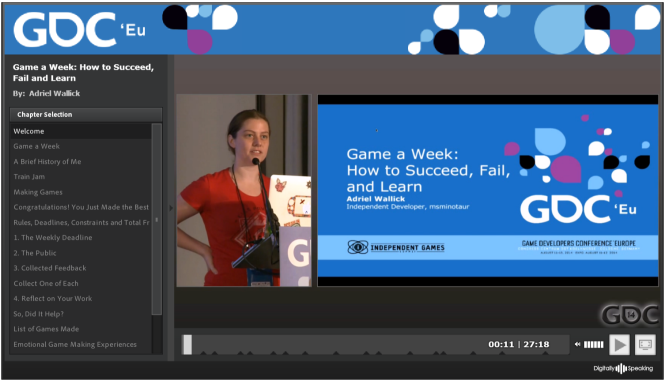 "Adriel Wallick at GDC Europe delivering her session ""Game a Week: How to Succeed, Fail and Learn"""